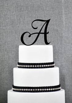 Initial Monogram Wedding Cake Topper by Chicago Factory - A B C D E F G H I J K L M N O P Q R S T U V W X Y Z