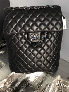 NWT CHANEL URBAN SPIRIT BACKPACK BLACK SILVER Ruthenium LARGE NEW CLASSIC FLAP #CHANEL #Backpack