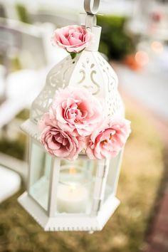White Lantern with Pink Roses Wedding Ceremony Decor | Northside Florist