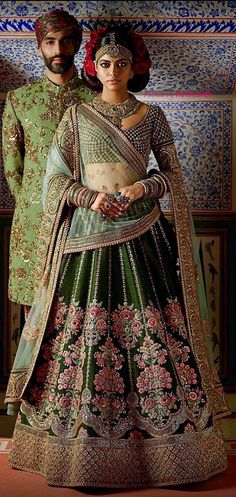 Latest Collection Ethnicmode Indian Pine Green color Thai Silk Fabric Designer Wedding Wear Bridal Lehenga Choli with Embroidery Work. A New arrival in women's Lehenga Choli. Get unique & elegant Lehengas designs from our huge collection. Couple Wedding Dress, Wedding Wear, Dream Wedding, Lehenga Designs, Indian Dresses, Indian Outfits, Bridal Lehenga Collection, Sabyasachi Collection, Pakistani Wedding Outfits