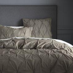 Organic Cotton Pintuck Duvet Cover + Shams - Soot | west elm