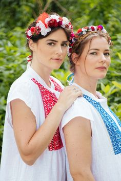 "Beautiful, playful and with a feminine flair – these dresses arouse summer mood.  ""Croatia in my heart, Austria in my mind."" Silvia uses the artisanal craft of her second home country Croatia and its' traditional national costume embroidery to embellish her newly arrived summer dress. ""Mira"" has a breezy style and is cut from naturally breathable linen and decorated with red patterns. The perfect dress for the summer, be it for your day to night city outfit or at the beach. City Outfits, Red Pattern, Night City, Croatia, Austria, Fashion Inspiration, Feminine, Mood, Traditional"