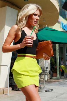 Neon Skirt & Black Top.