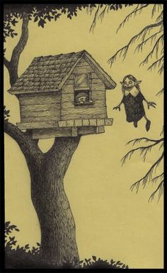Artist Don Kenn does amazingly detailed pieces on very tiny canvasses. His Post-It Note masterpieces depict cutely macabre childhood nightmares. If Edward Gorey had access to an Office Max, this would probably be the result. Edward Gorey, Arte Horror, Horror Art, Art And Illustration, Monster Drawing, Monster Art, Tree Monster, Fantasy Kunst, Fantasy Art