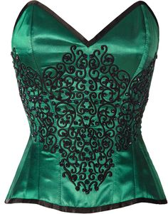This satin green and embroidered corset comes with steel bones for maximum support and shaping. Comes with strong cord lacing for maximum cinch. Glorious black beading accents the front.   The Violet Vixen - Emerald Gemstone Enchantress Green-Black Corset, $197.39 (http://thevioletvixen.com/corsets/emerald-gemstone-enchantress/).    Green with envy, corset, waist training, satin, strong cord lacing, sexy, prom idea, DIY dress, homecoming, fashion, support, curvy, plus size women