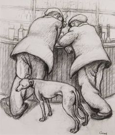 Norman Cornish - Two men at bar with dog