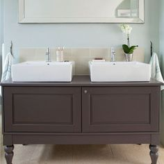 Mint-Green-and-Grey-Vanity-Unit-Bathroom-Ideal-Home-Housetohome.jpg Like the style of this vanity unit and the overall colour scheme - but maybe the sinks are impractical? Like shape of unit Old Bathrooms, Bathroom Photos, Upstairs Bathrooms, Bathroom Ideas, Family Bathroom, Master Bathroom, Grey Vanity Unit, Basin Vanity Unit, Bathroom Storage Units