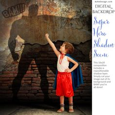 Digital Props 16x20 Backdrop Set - Super Hero Shadow Scene - Boy