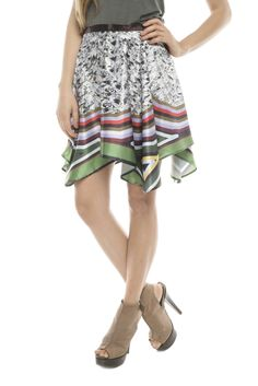 Asymmetrical Print Skirt. Need to try something like this, but a different pattern and a bit longer.