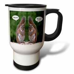 3dRose Red Squirrel Humor, Travel Mug, 14oz, Stainless Steel