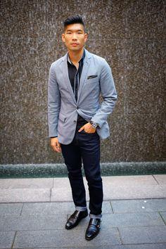 Outfit Breakdown: J. Crew Blazer, H&M Shirt, Uniqlo Dark Navy Jeans, Allen Edmonds Double Monk Strap, J. Crew Camo Pocket Square, Menswear - Leo Chan