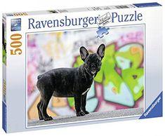 Referencia: 14771 Marca: RAVENSBURGER Medidas:49x36 cm Piezzas: 500 Piezas  Bulldog francés de color negro Posando. Tras él vemos una ecléctica pared de grafittis.  Encuéntralo ahora en puzzlemania.net Ravensburger Puzzle, Disney Frozen, Tier Puzzle, Puzzles, French Bulldog, Ebay, Dogs, Color, Animales