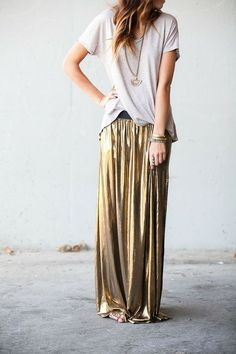 The slinky gold maxi skirt dresses it up but add a slouchy tshirt and it's magic, love the everyday luxe look