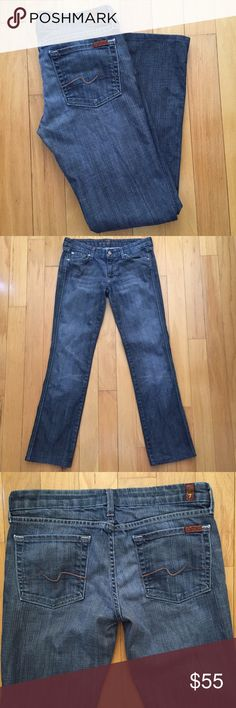 """7 For All Mankind Straight Jeans 7 For All Mankind Straight Jeans. Excellent condition. Medium wash. Size 28. Inseam approx 30"""". Reasonable offers considered. 7 For All Mankind Jeans Straight Leg"""