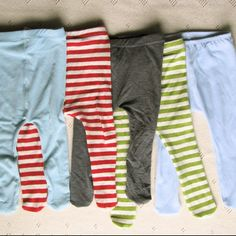 Baby tights from recycled stretch t-shirts -- fabulous idea for finishing up a handmade outfit for baby gifts!