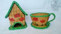 Плетение из газетных трубочек. Набор чайный домик и чашка-конфетница