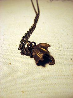 Antiqued Tiny Umbrella Necklace