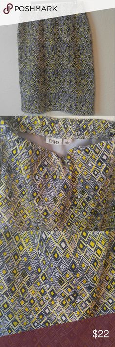 """Cato Veomtric Printed Midi Skirt Super Cute ~ Vibrant colors: Navy, Yellow, White, Grey ~ Wide elastic waist band ~ 25.5"""" long ~ Great condition ~ Hardly worn ~ Comfortable 95% Polyester 5% Spandex Cato Skirts Midi"""