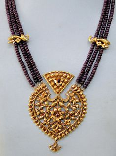 Antique 22 K Gold ruby bead necklace vintage by TRIBALEXPORT