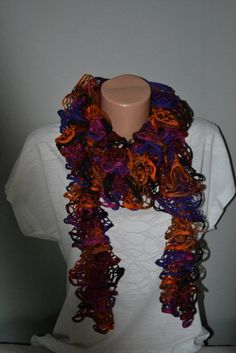 HandKnitted Scarf, Fleece Edge Long Knit Scarf, Ruffle Scarf, Orange, Purple, Pink and Black