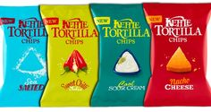 Kettle has created a new range of Tortilla Chips. The four new flavours are Nacho Cheese, Cool Sour Cream, Sweet Chilli Salsa and Sea Salted. Chip Packaging, Packaging Snack, Cheese Packaging, Beverage Packaging, Nacho Chips, Tortilla Chips, Tortilla Chip Brands, Kettle Chips, Sweet Chilli