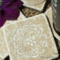 Stencilled Coasters in Tumbled Marble
