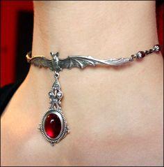 Vampire bite bloody drops Gothic Bat necklace. $24.00, via Etsy.