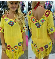 Beach dress You are in the right place about crochet patterns Here we offer you the most beautiful pictures about the crochet you are looking. Crochet Tunic Pattern, Gilet Crochet, Crochet Blouse, Knit Crochet, Hand Crochet, Crochet Shoes, Crochet Clothes, Crochet Beach Dress, Dress Beach