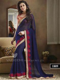 afff9da4dc3 Navy Blue Goegette Designer Saree Beautiful Dresses For Women
