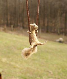 felted wool squirrel by motleymutton