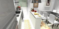 Cozinha integrada com sala... Uma visão da cozinha linear...