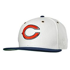 Look unique this football season with this Chicago Bears Primary Leather  Strap Adjustable Cap from New Era! This hat is all white with a navy blue  brim and ... 9b003e3d1e4a