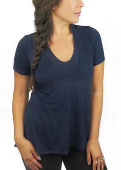 8d3ccb9b9e4fd BB Basic Flowy Nursing Tee - Navy, Bun Short Sleeve Tee Shirt, Bun Maternity