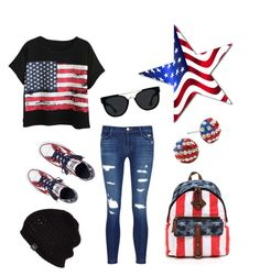 """""""Independence Day⚪"""" by draw4me ❤ liked on Polyvore featuring Chicnova Fashion, Converse, J Brand, UGG Australia and Quay"""