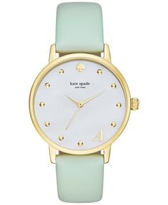 kate spade new york® Women's Gold-Tone Metro Monogrammed D Mint Green Leather Strap Three-Hand Watch Bumble Bee Jewelry, Mint Watch, Kate Spade New York, Cartier, Mint Jewelry, Kate Spade Watch, Monogram Jewelry, Chanel, Green Leather
