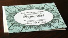 Silkscreen Printed Vintage Filigree Wedding Invitation Suite Sample. $4.00, via Etsy.