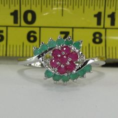 Sterling Silver Emerald and Sapphire Gemstone Ring Size 10