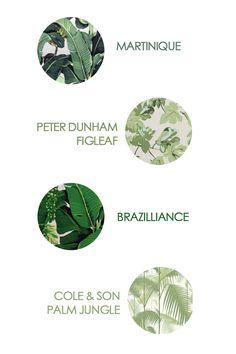 flatiron27 - leaf prints. Martinique Hinson & Co, Figleaf Peter Dunham, Brazilliance Carleton Varney, Palm Jungle Cole & Son.