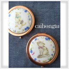 porcelarts 磁器彩繪 台湾ポーセラーツ愛好会 彩虹兎(にじいろうさぎ) コンパクトミラー おしゃれな猫