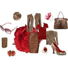 Leopard & Red... Skirt, Blazer, Accessories, created by wendy-sheets on Polyvore