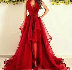 Amazon.com: Dressylady Gorgeous Red Halter V Neck Organza Prom Dress Long Formal Evening Pageant Dress: Clothing