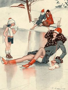 Illustration by Fabien Fabiano For La Vie Parisienne 1920s  (Love the high-heeled skates!)