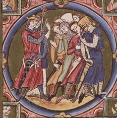 Protobaselard. BIble Moralisée ca 1230. (first manuscript to depict burning of heretics) La coiffe de maille - Cité d'Antan