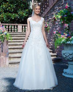 Sincerity Bridal V-neck Neckline Wedding Dress #vneck #gowns and wedding inspiration for #brides