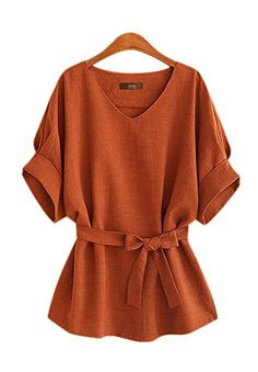 daa4083aa33b1 sewing blouse Linen Tunic Shirt V-Neck Big Bow Tie Loose Blouse - -  Material Linen