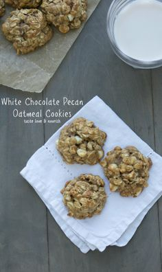 White Chocolate Pecan Oatmeal Cookies - You are never going to believe that these cookies are made with the tiniest amount of butter. They are so chewy and moist! | taste love and nourish