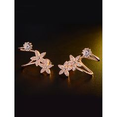 Floral τεχνητό διαμάντι χειροπέδες αυτί - GOLDEN