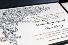 rhinestones on letterpress invitation created at Chic Ink