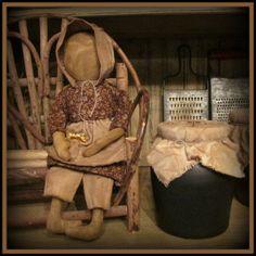 Primitive Faceless Prairie Doll in Brown by TeresasPrimTreasures, $24.00
