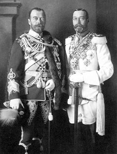 King George V (right) and his cousin Tsar Nicholas II in German military uniforms in Berlin before the war. There is a close physical resemblance between the two monarchs